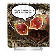 Cardinals Anniversary Card Shower Curtain
