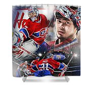 Carey Price Shower Curtain by Mike Oulton