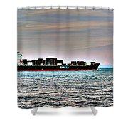 Cargo Ship Near Chesapeake Bay Bridge Tunnel Shower Curtain