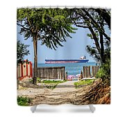 Cargo Ship On Chesapeake Bay Shower Curtain