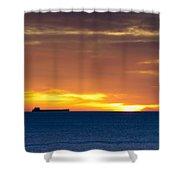 Cargo Ship On Horizon At Dawn Shower Curtain