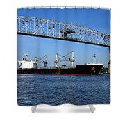 Cargo Ship Under Bridge Shower Curtain