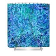 Caribbean Blue Abstract Shower Curtain