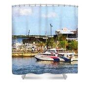 Caribbean - Dock At King's Wharf Bermuda Shower Curtain