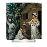 Caribbean Women In Front Of A Hut Shower Curtain