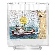 Carina Trawl Fishing Boat Nautical Chart Map Art Shower Curtain