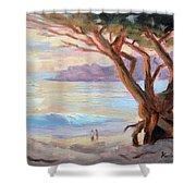 Carmel Beach Winter Sunset Shower Curtain