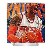 Carmelo Anthony Shower Curtain by Taylan Apukovska