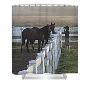 Caro And Her Horses Shower Curtain