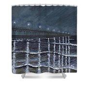 Carolina Beach Pier By Night Shower Curtain