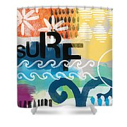 Carousel #7 Surf - Contemporary Abstract Art Shower Curtain by Linda Woods