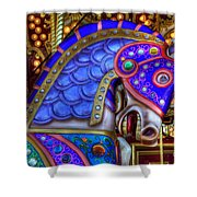 Carousel Beauty Blue Charger Shower Curtain