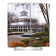 Carousel Building In Snow Shower Curtain by Tom and Pat Cory