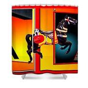 Carousel Horse Fireman 04 In Teal Shower Curtain