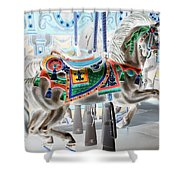 Carousel Horse In Negative Colors Shower Curtain