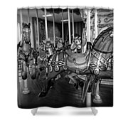 Carousel Horses In Black And White Shower Curtain