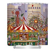 Carousel In City Park Shower Curtain