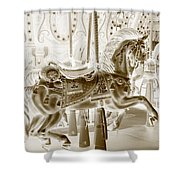 Carousel In Negative Sepia Shower Curtain