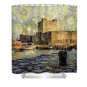 Starry Carrickfergus Castle Shower Curtain