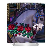 Carrsoul Horse With Roses Shower Curtain
