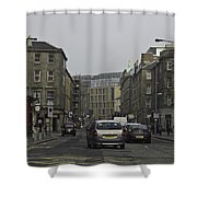 Cars And Buildings On The Streets Of Edinburgh Shower Curtain