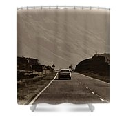 Cars And Other Vehicles On A Road In The Scottish Highlands Shower Curtain