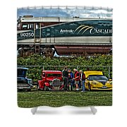 Cars And Trains Shower Curtain