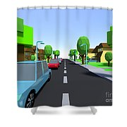 Cars Driving Suburban Streets   Shower Curtain