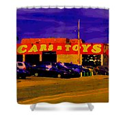 Cars R Toys Evening Rue St.jacques Used Cars Trucks Suvs Montreal Urban Scene Carole Spandau Shower Curtain