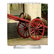 Cart Loaded With Wood Beer Barrels Shower Curtain