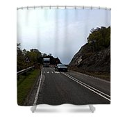 Cartoon - Car And Truck Crossing A Road Repair Section Of Highway In Scotland Shower Curtain