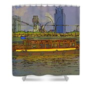 Cartoon - Colorful River Cruise Boat In Singapore Next To A Bridge Shower Curtain
