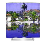Cartoon - Cottages And Lagoon Water Shower Curtain