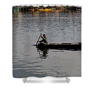 Cartoon - Kashmiri Man Rowing A Small Wooden Boat In The Waters Of The Dal Lake Shower Curtain