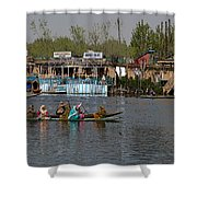 Cartoon - Ladies On 2 Wooden Boats On The Dal Lake With The Background Of Houseboats Shower Curtain