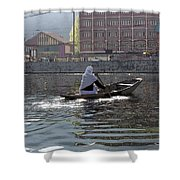 Cartoon - Light Following This Lady On A Wooden Boat On The Dal Lake In Srinagar Shower Curtain