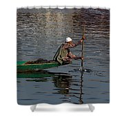 Cartoon - Man Plying A Wooden Boat On The Dal Lake Shower Curtain