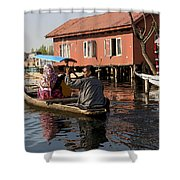Cartoon - Man Rowing A Family In A Wooden Boat Shower Curtain