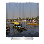 Cartoon - Multiple Number Of Shikaras On The Water Of The Dal Lake In Srinagar Shower Curtain