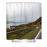 Cartoon - Road Along The Loch Alsh In The Scottish Highlands Shower Curtain