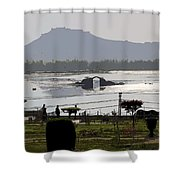 Cartoon - Shalimar Garden - The Dal Lake And Mountains In The Background In Srinagar Shower Curtain