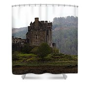 Cartoon - Structure Of The Eilean Donan Castle In Front With Dry Part Of Lake Shower Curtain