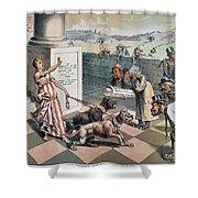 Cartoon Immigration, 1885 Shower Curtain