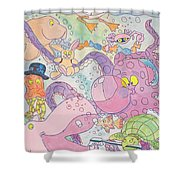 Cartoon Sea Creatures Shower Curtain