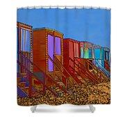 Cartoonised Beach Huts Shower Curtain