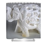 Carved Elephant Shower Curtain