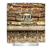 Carved Figures At Wat Mahathat In 13th Century Sukhothai Histori Shower Curtain