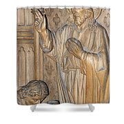 Carved In Wood Shower Curtain