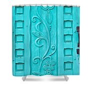 Carved Turquoise Door Shower Curtain