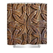 Carved Wooden Door In The Tsminda Sameba Cathedral Tbilisi Shower Curtain